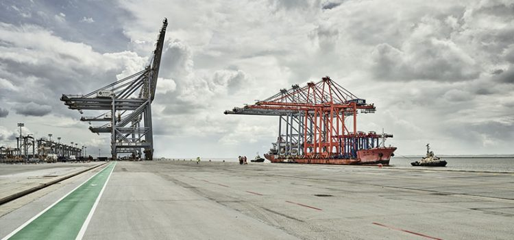 Enormous cranes brought up the River Thames for UK's new logistics hub